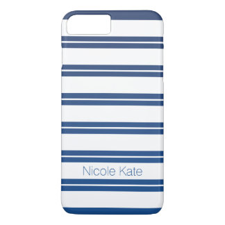 nautical blue gradient stripes monogram iPhone 7 plus case