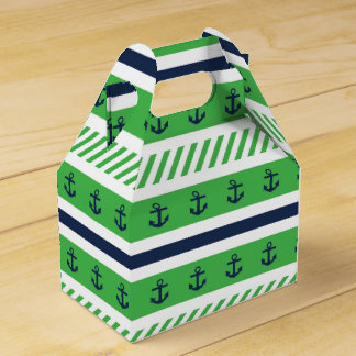 Nautical Blue Green and White Anchors Pattern Party Favor Box
