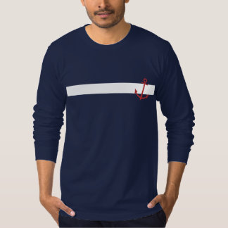 Nautical Blue Men's T-Shirt with Red Anchor