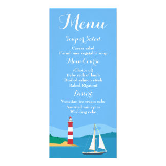 Nautical Blue Menu Sailboat & Lighthouse Wedding