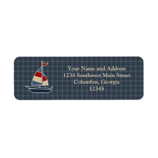 Nautical Blue, Red, Cream Sailboat Custom