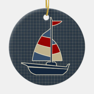 Nautical Blue, Red, Cream Sailboat Custom Ceramic Ornament