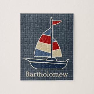 Nautical Blue, Red, Cream Sailboat Custom Jigsaw Puzzle