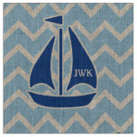 Nautical Blue Sailboat and Chevron Personalized Fabric