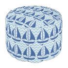 Nautical Blue Sailboat Custom Chevron pattern Pouf