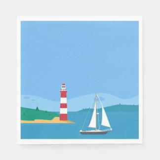 Nautical Blue Sailboat & Lighthouse Wedding Party Disposable Napkin