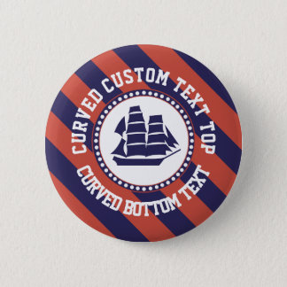 Nautical blue ship 2 inch round button