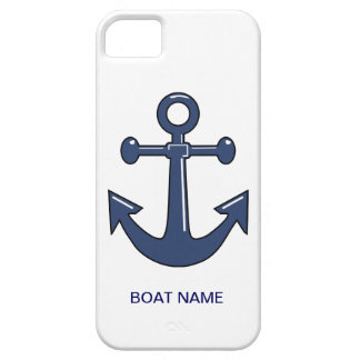 Nautical Blue Ship Anchor Custom Boat Name iPhone 5 Covers