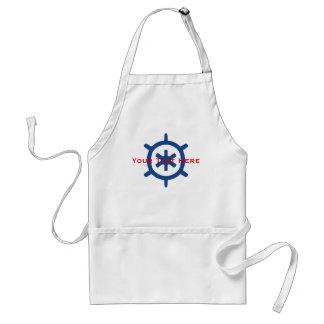 Nautical Blue Ship Captain's Helm Wheel Custom Standard Apron