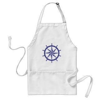 Nautical Blue Ship's Wheel Standard Apron