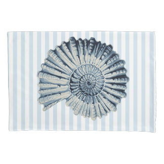 Nautical Blue Spiral Shell & White Stripes Pillowcase