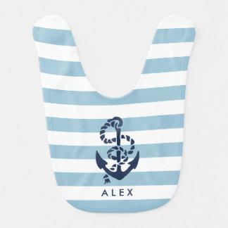 Nautical Blue Stripe Anchor Personalized Bib
