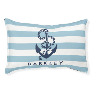 Nautical Blue Stripe Anchor Personalized Pet Bed