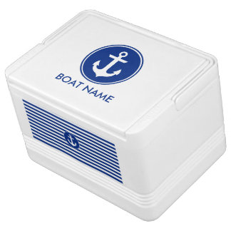 Nautical Blue Striped Boat Name Anchor Cooler