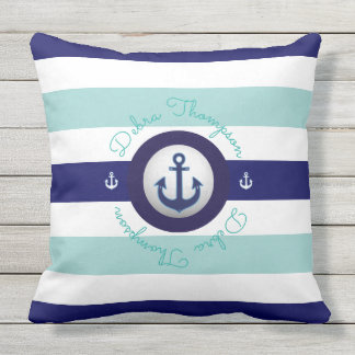 nautical blue striped & personalized throw pillow