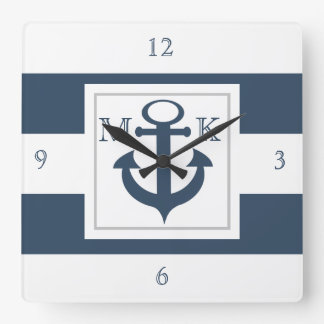 Nautical Blue Stripes and Anchor with Monogram Square Wall Clock