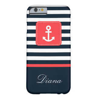 Nautical Blue Stripes and Compass Barely There iPhone 6 Case