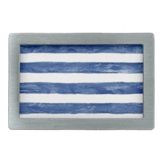 Nautical Blue Stripes Painting Art Belt Buckles