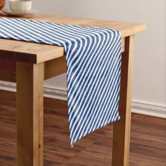 Nautical Blue Stripes Painting Art Short Table Runner