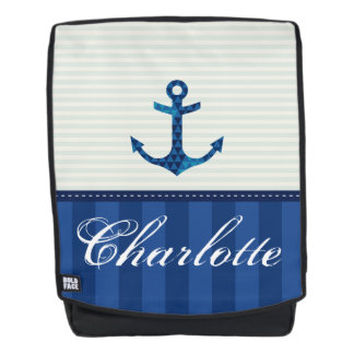Nautical Blue Stripes Pattern Anchor Custom Name