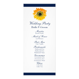 Nautical Blue Stripes Sunflower Wedding Program