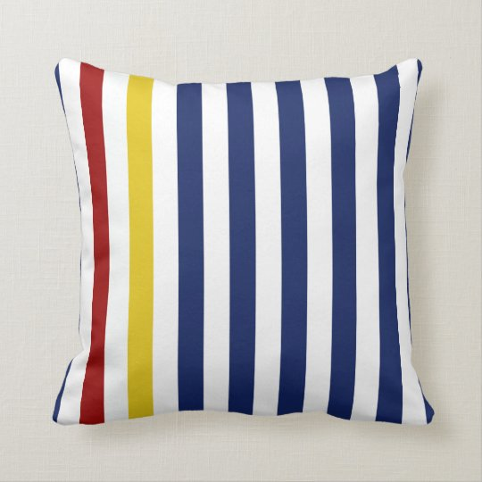Nautical Blue Stripes Throw Pillow