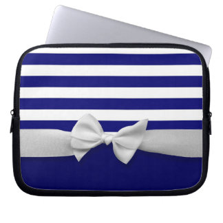 Nautical blue stripes & white ribbon bow graphic laptop sleeve