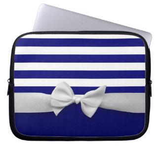 Nautical blue stripes & white ribbon bow graphic laptop sleeves
