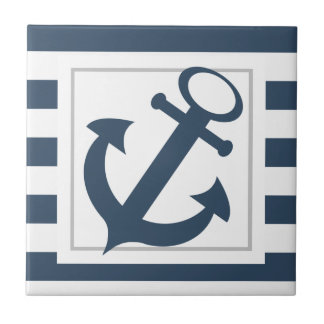Nautical Blue Stripes with Anchor Ceramic Tiles