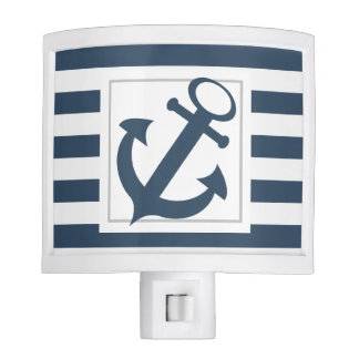 Nautical Blue Stripes with Anchor Night Lights