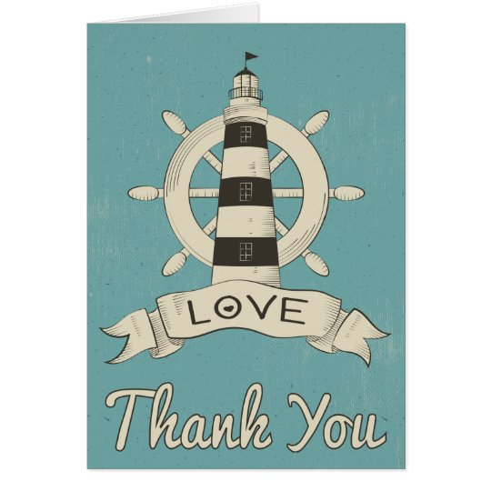 Nautical Blue Thank You Lighthouse & Ship Anchor Card