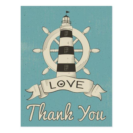 Nautical Blue Thank You Lighthouse & Ship Anchor Postcard