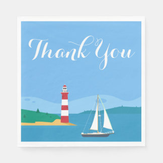 Nautical Blue Thank You Sailboat & Lighthouse Paper Napkins