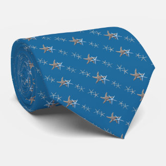 Nautical Blue Tiny Starfish Diagonal Print Tie