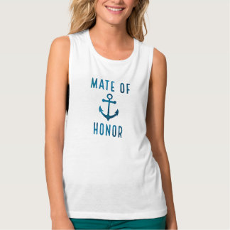 Nautical Blue Watercolor Anchor Mate of Honor Tank Top