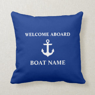 Nautical Blue Welcome Aboard Boat Name Blue Throw Pillow