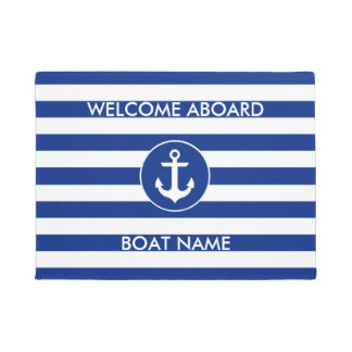 Nautical Blue Welcome Boat Name Striped Door Mat