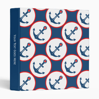 Nautical Blue White And Red Anchor With Red Heart Binders