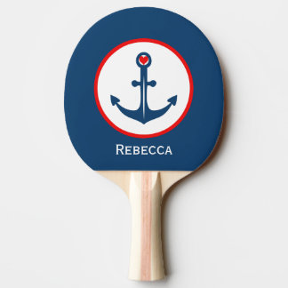 Nautical Blue White And Red Anchor With Red Heart Ping Pong Paddle