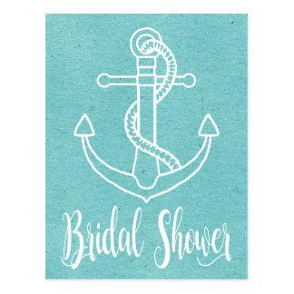Nautical Blue White Bridal Shower Ship Anchor Postcard