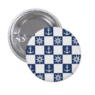Nautical blue white checkered 1 inch round button
