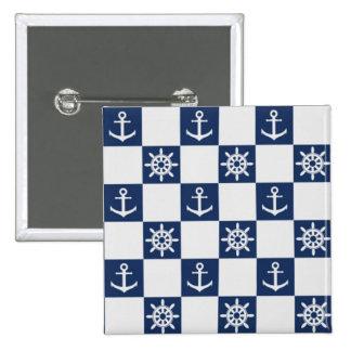 Nautical blue white checkered 2 inch square button