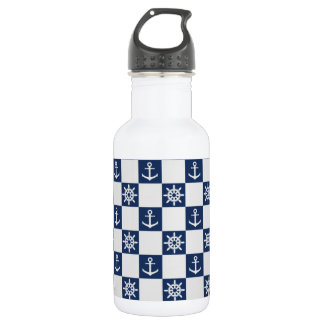 Nautical blue white checkered 532 ml water bottle