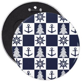 Nautical blue white checkered 6 inch round button