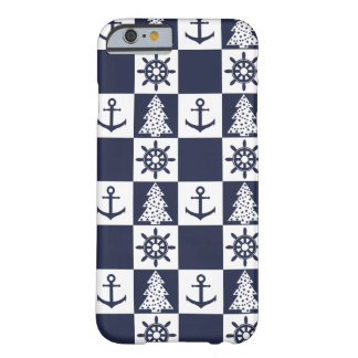 Nautical blue white checkered barely there iPhone 6 case