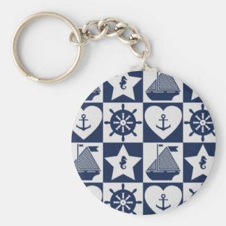 Nautical blue white checkered basic round button keychain
