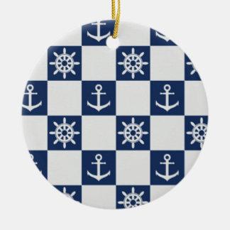 Nautical blue white checkered ceramic ornament