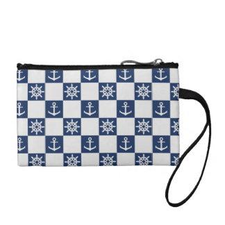 Nautical blue white checkered coin purse