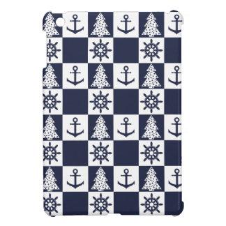 Nautical blue white checkered cover for the iPad mini
