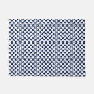 Nautical blue white checkered doormat